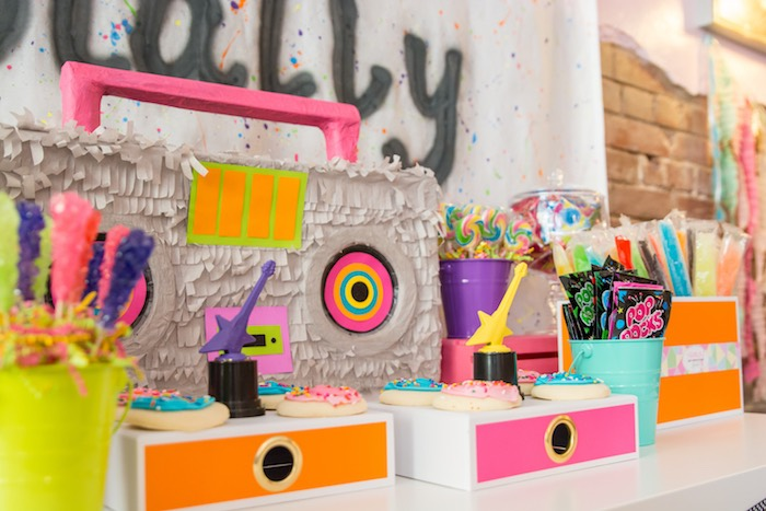 Boombox dessert tablescape from a Girls Just Wanna Have Fun 80's Rock & Roll Birthday Party via Kara's Party Ideas KarasPartyIdeas.com (24)