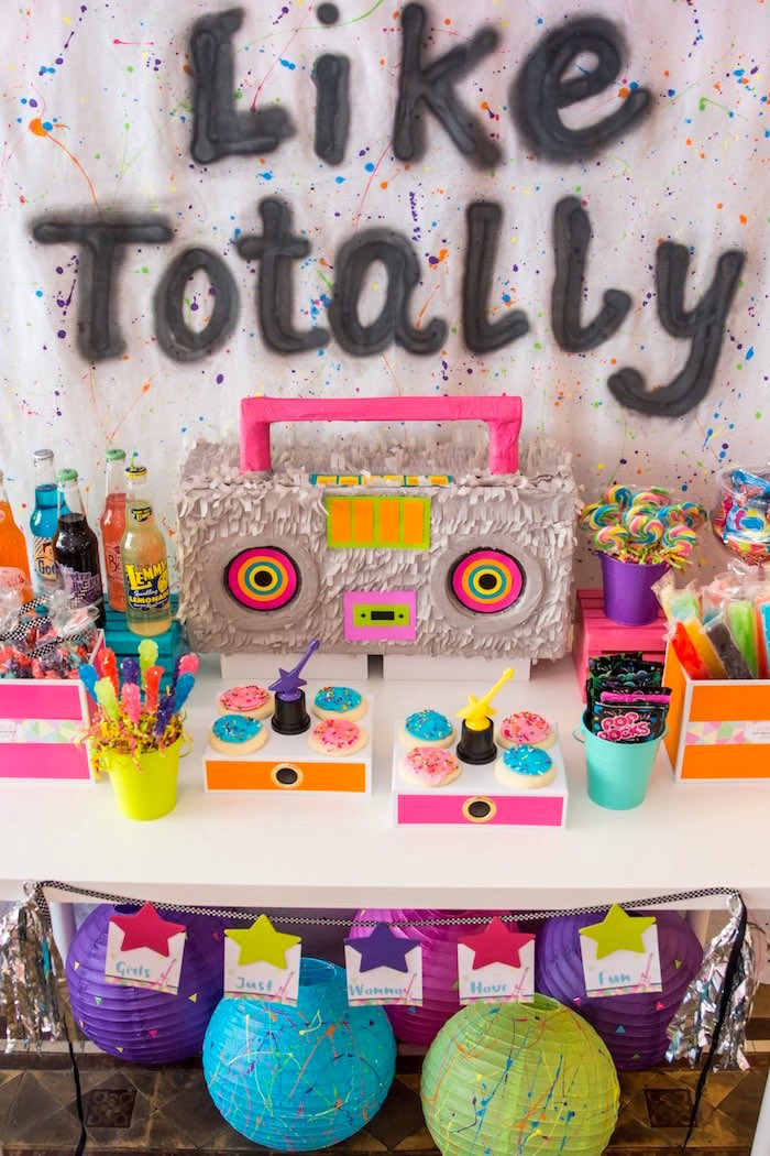 Boombox dessert table from a Girls Just Wanna Have Fun 80's Rock & Roll Birthday Party via Kara's Party Ideas KarasPartyIdeas.com (23)