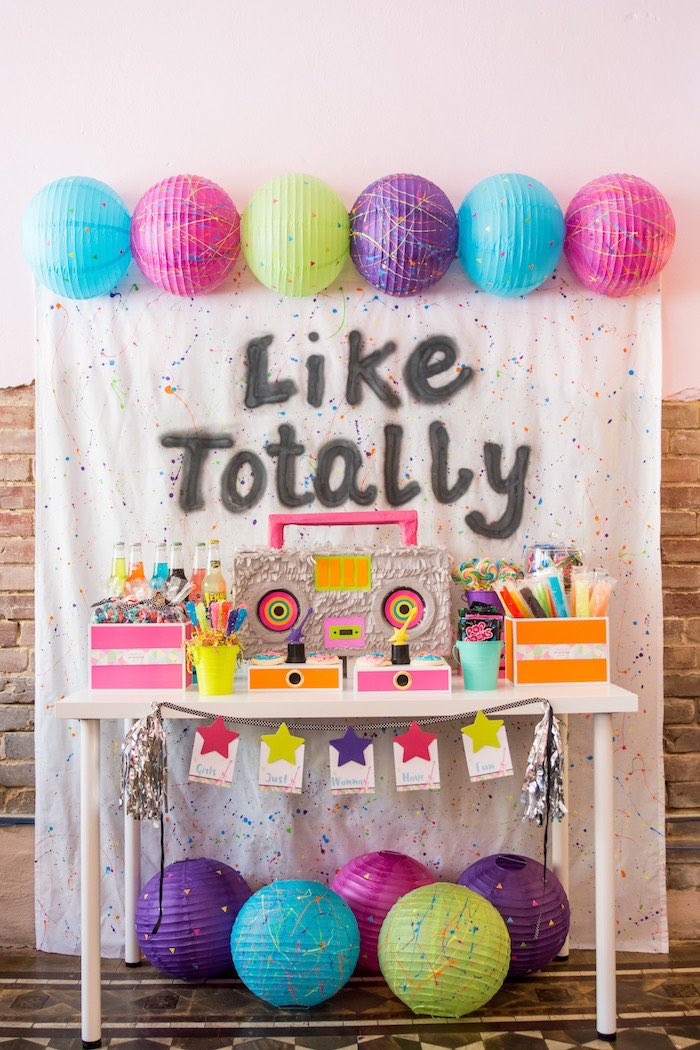 Girls Just Wanna Have Fun 80's Rock & Roll Birthday Party via Kara's Party Ideas KarasPartyIdeas.com (22)