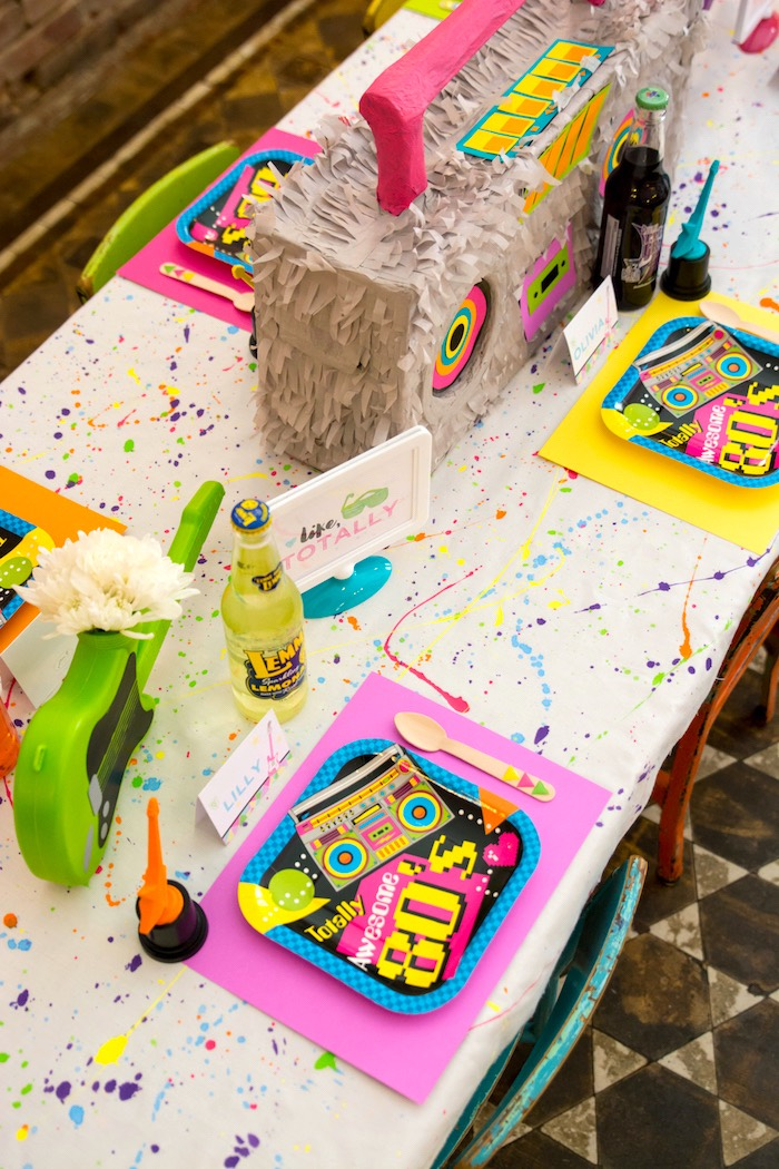 Guest tabletop from a Girls Just Wanna Have Fun 80's Rock & Roll Birthday Party via Kara's Party Ideas KarasPartyIdeas.com (17)