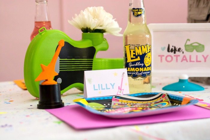 Place setting from a Girls Just Wanna Have Fun 80's Rock & Roll Birthday Party via Kara's Party Ideas KarasPartyIdeas.com (16)