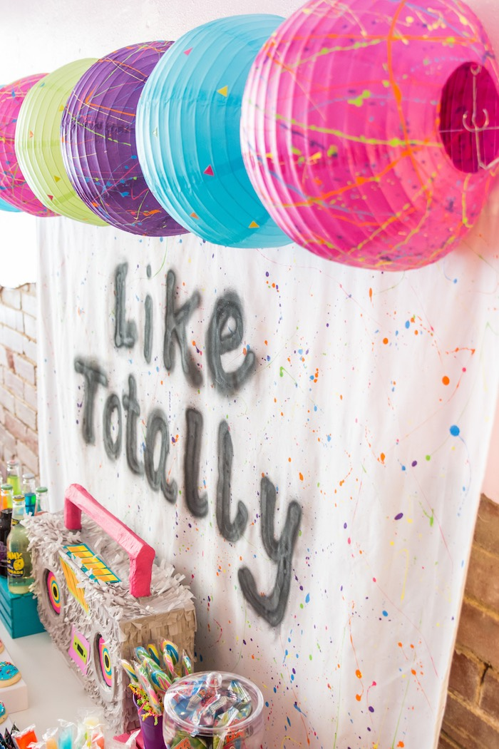 Paint splatter party backdrop from a Girls Just Wanna Have Fun 80's Rock & Roll Birthday Party via Kara's Party Ideas KarasPartyIdeas.com (11)