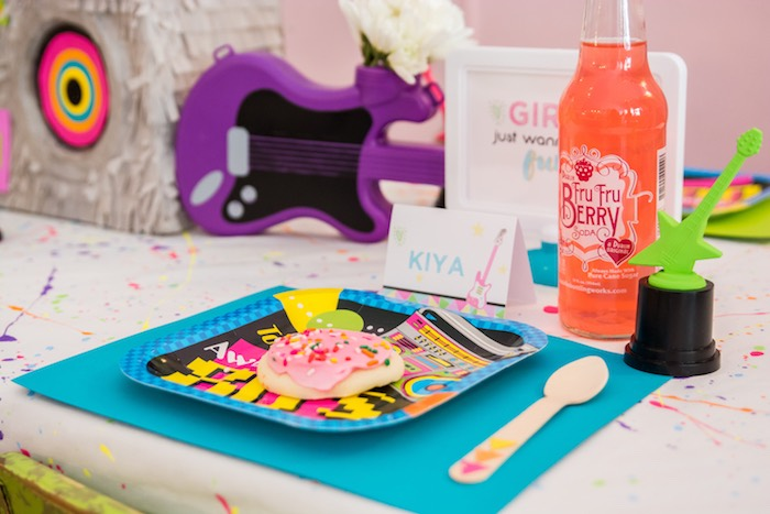 Place setting from a Girls Just Wanna Have Fun 80's Rock & Roll Birthday Party via Kara's Party Ideas KarasPartyIdeas.com (29)