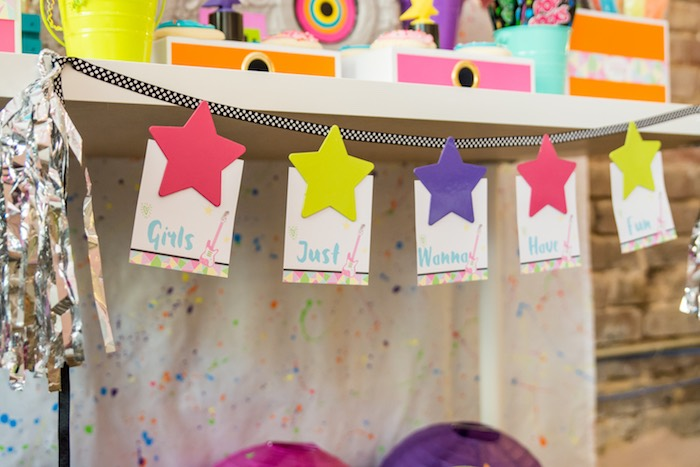 Star banner from a Girls Just Wanna Have Fun 80's Rock & Roll Birthday Party via Kara's Party Ideas KarasPartyIdeas.com (25)
