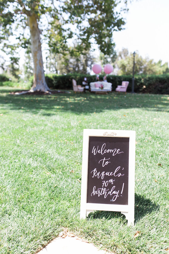 Welcome chalkboard sign from a Glamorous 70th Birthday Party on Kara's Party Ideas | KarasPartyIdeas.com (16)