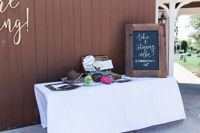 Photo booth prop table from a Glamorous 70th Birthday Party on Kara's Party Ideas | KarasPartyIdeas.com (15)