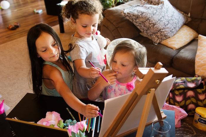 Girls drawing at a Glamorous Unicorn Birthday Party via Kara's Party Ideas KarasPartyIdeas.com (16)