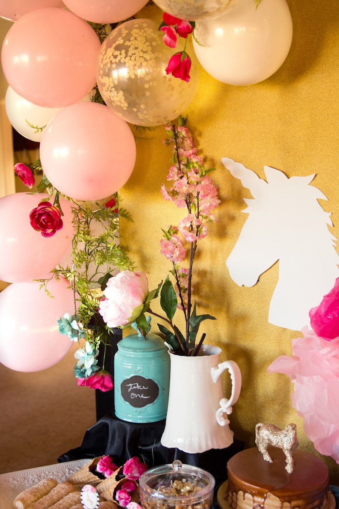 Table backdrop from a Glamorous Unicorn Birthday Party via Kara's Party Ideas KarasPartyIdeas.com (26)