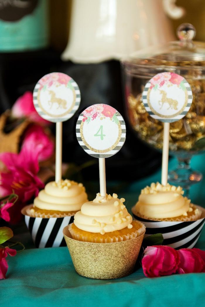 Cupcakes from a Glamorous Unicorn Birthday Party via Kara's Party Ideas KarasPartyIdeas.com (24)