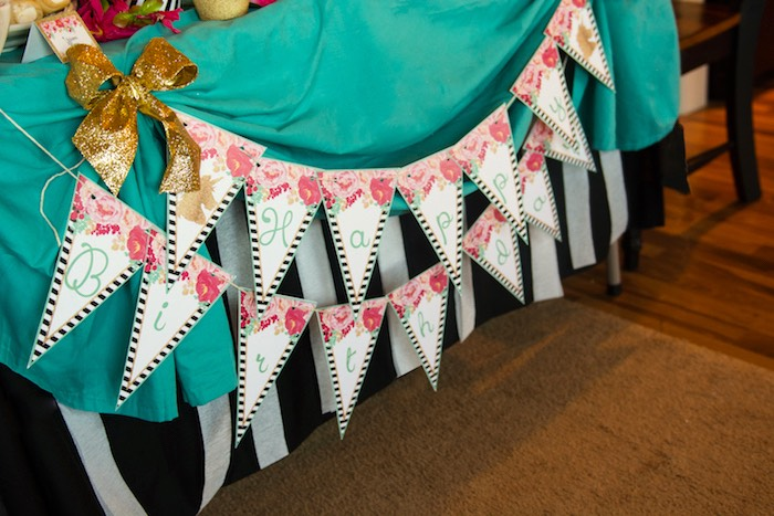 Striped floral pennant banner from a Glamorous Unicorn Birthday Party via Kara's Party Ideas KarasPartyIdeas.com (23)
