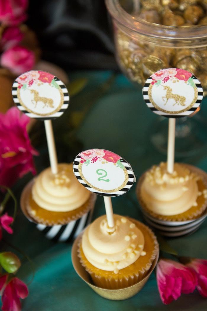 Unicorn cupcake toppers from a Glamorous Unicorn Birthday Party via Kara's Party Ideas KarasPartyIdeas.com (21)