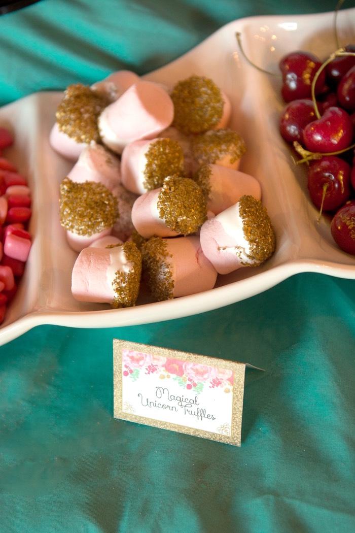 Magical unicorn truffles/marshmallows from a Glamorous Unicorn Birthday Party via Kara's Party Ideas KarasPartyIdeas.com (20)