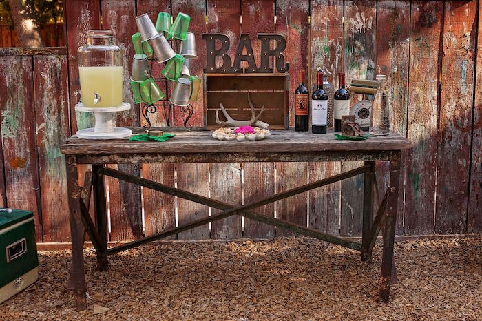 """Drink bar from a """"Glamping"""" Glamorous Camping Party via Kara's Party Ideas 