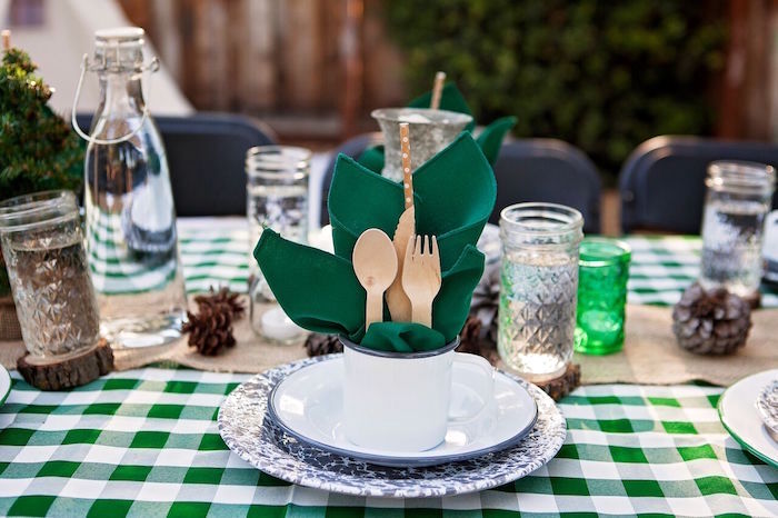 """Place setting from a """"Glamping"""" Glamorous Camping Party via Kara's Party Ideas 