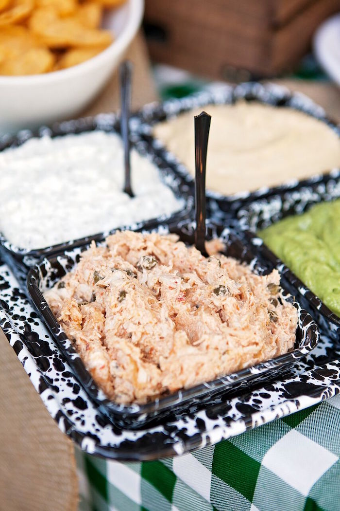 """Dip platter from a """"Glamping"""" Glamorous Camping Party via Kara's Party Ideas 