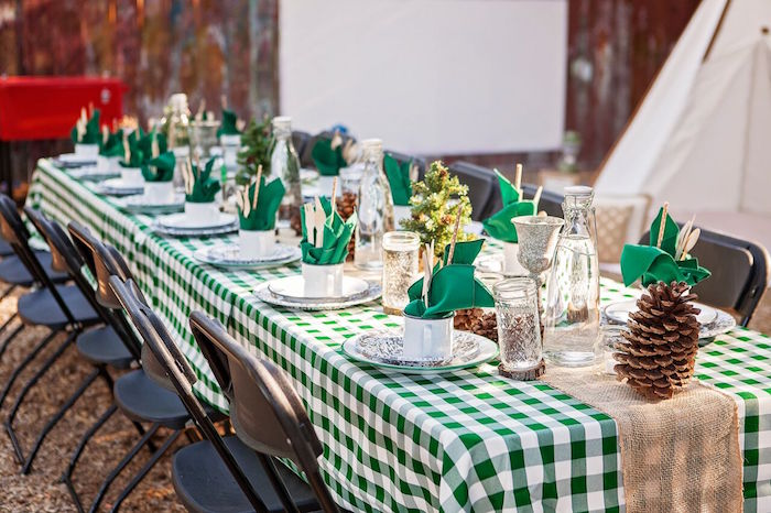 """Guest table from a """"Glamping"""" Glamorous Camping Party via Kara's Party Ideas 