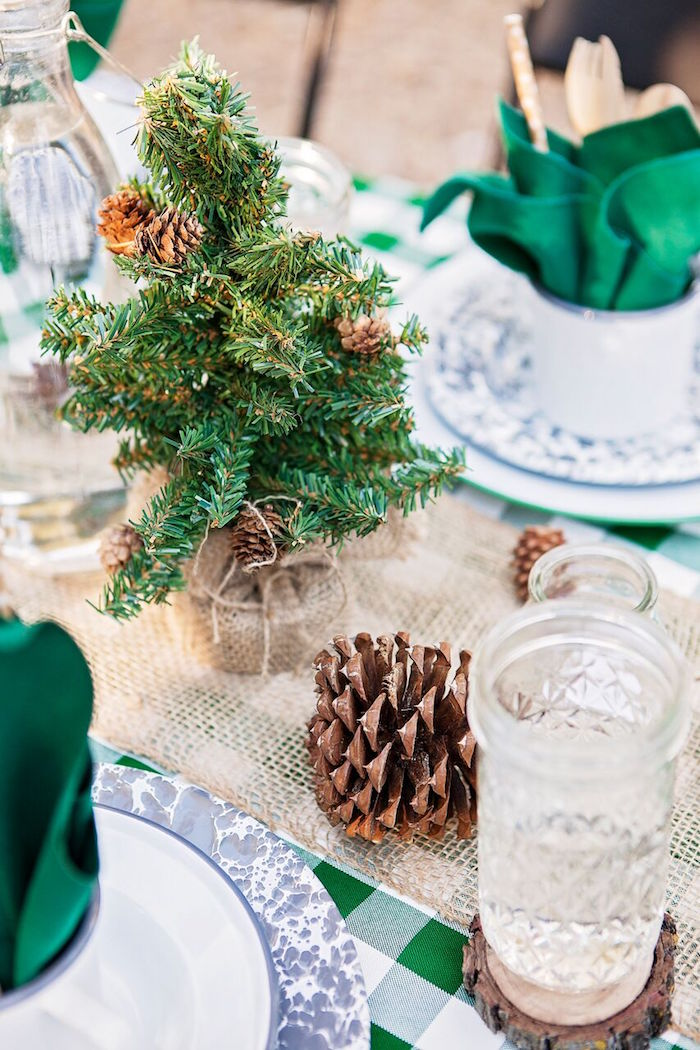 """Mini faux pine tree decoration from a """"Glamping"""" Glamorous Camping Party via Kara's Party Ideas 