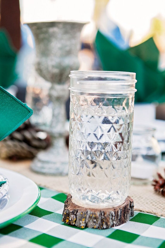 """Crystal drink jar from a """"Glamping"""" Glamorous Camping Party via Kara's Party Ideas 