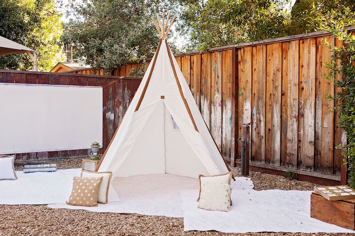 """Teepee lounge area from a """"Glamping"""" Glamorous Camping Party via Kara's Party Ideas 