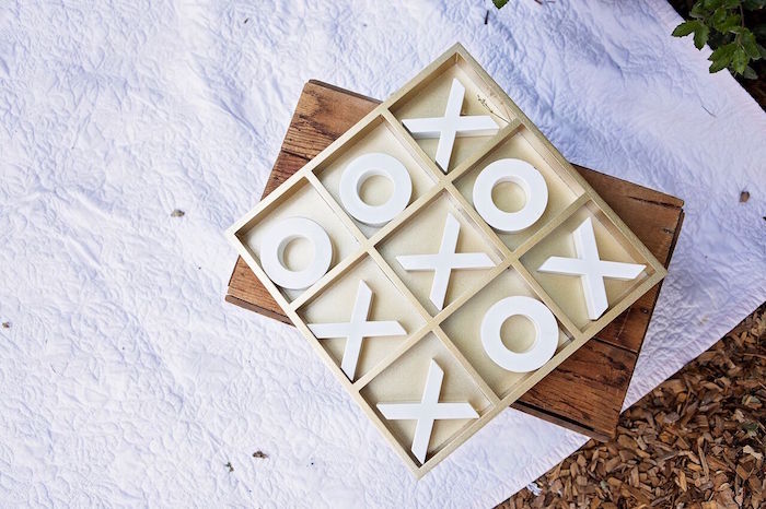 """Tic-tac-toe game from a """"Glamping"""" Glamorous Camping Party via Kara's Party Ideas 