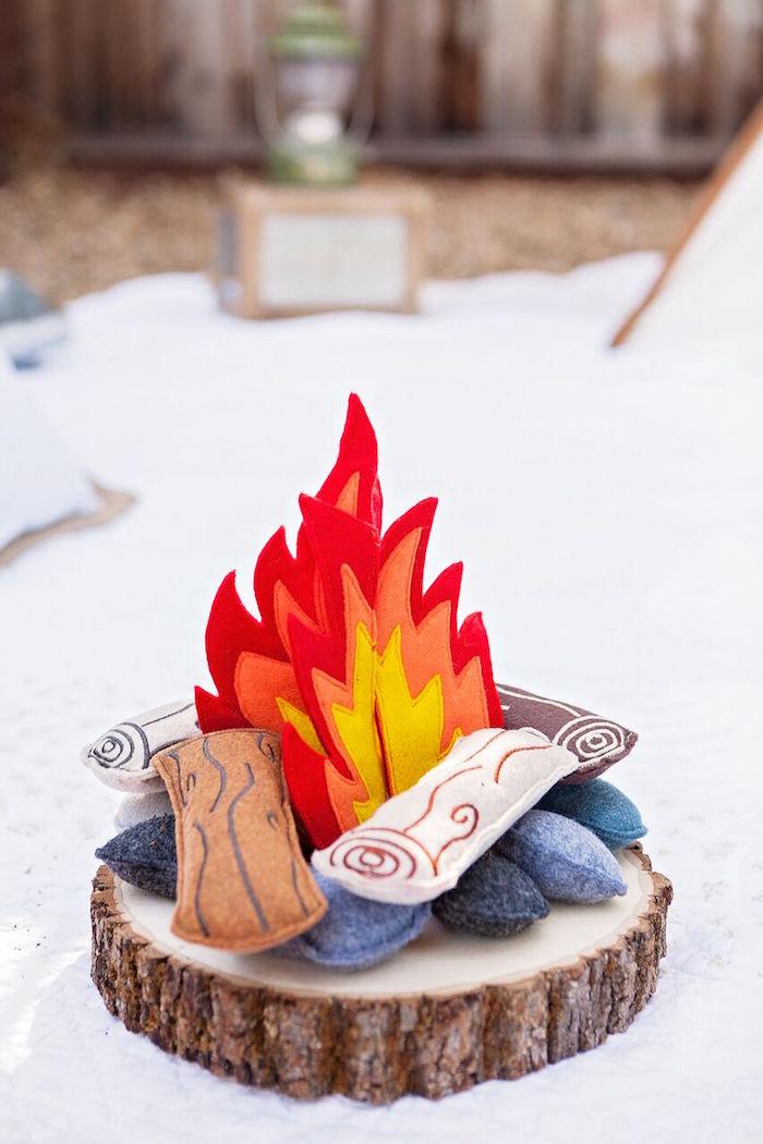 "Felt fire from a ""Glamping"" Glamorous Camping Party via Kara's Party Ideas | KarasPartyIdeas.com (28)"
