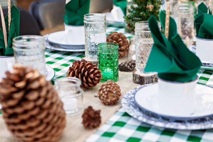 """Pinecones + crystal glasses from a """"Glamping"""" Glamorous Camping Party via Kara's Party Ideas 