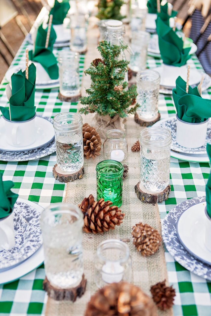 """Dining tablescape from a """"Glamping"""" Glamorous Camping Party via Kara's Party Ideas 