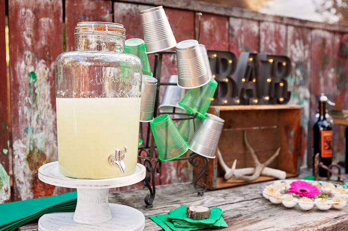 """Drink dispenser from a """"Glamping"""" Glamorous Camping Party via Kara's Party Ideas 