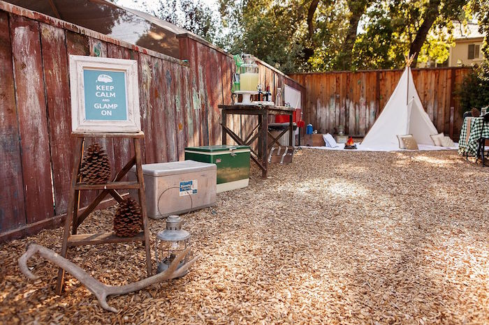 """Partyscape from a """"Glamping"""" Glamorous Camping Party via Kara's Party Ideas 