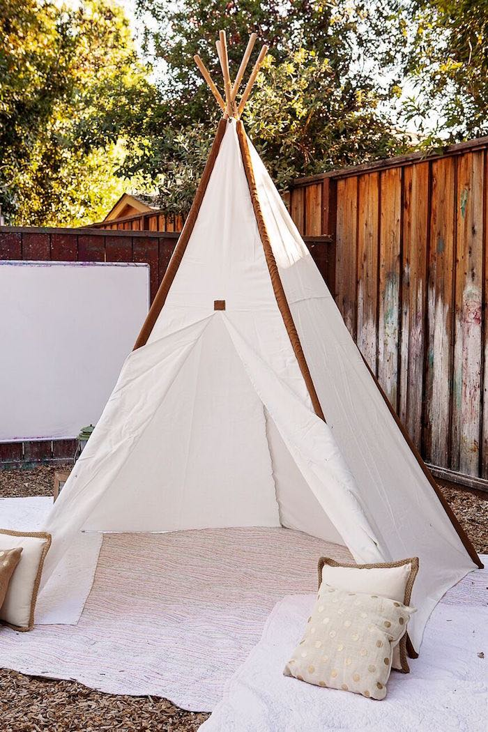 """Teepee from a """"Glamping"""" Glamorous Camping Party via Kara's Party Ideas 