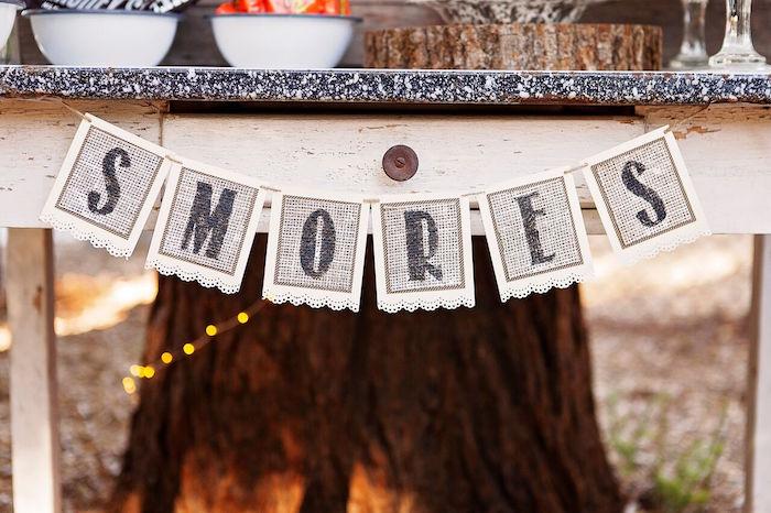 "Burlap banner from a ""Glamping"" Glamorous Camping Party via Kara's Party Ideas | KarasPartyIdeas.com (13)"