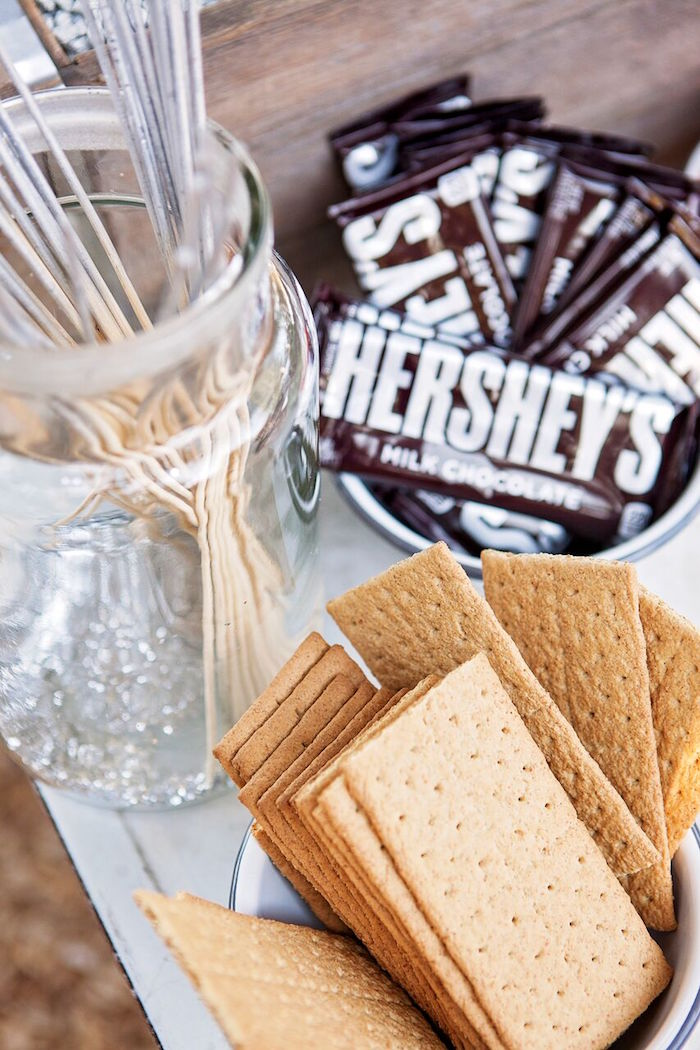 """Sweets for S'mores from a """"Glamping"""" Glamorous Camping Party via Kara's Party Ideas 