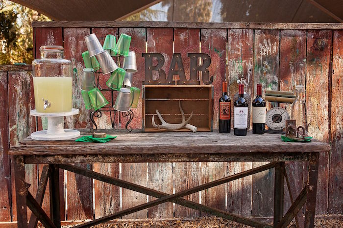 """Drink table from a """"Glamping"""" Glamorous Camping Party via Kara's Party Ideas 