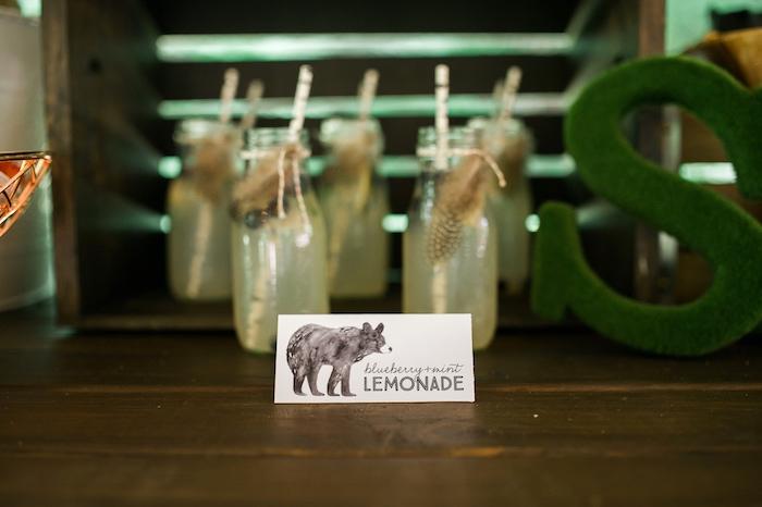Blueberry mint lemonade + tribal drinks from a Grizzly Bear Man Cub 1st Birthday Party on Kara's Party Ideas | KarasPartyIdeas.com (41)