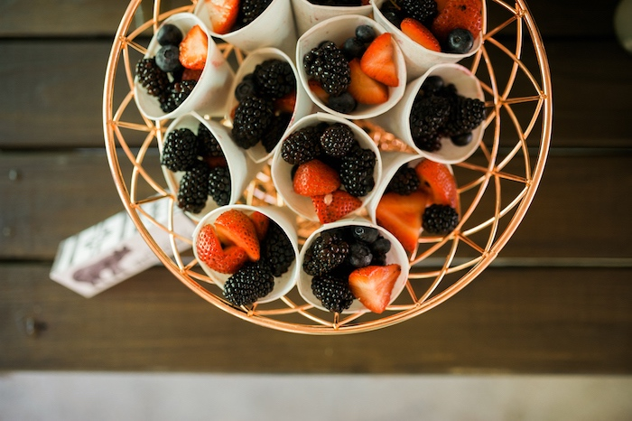Berry cups from a Grizzly Bear Man Cub 1st Birthday Party on Kara's Party Ideas | KarasPartyIdeas.com (39)