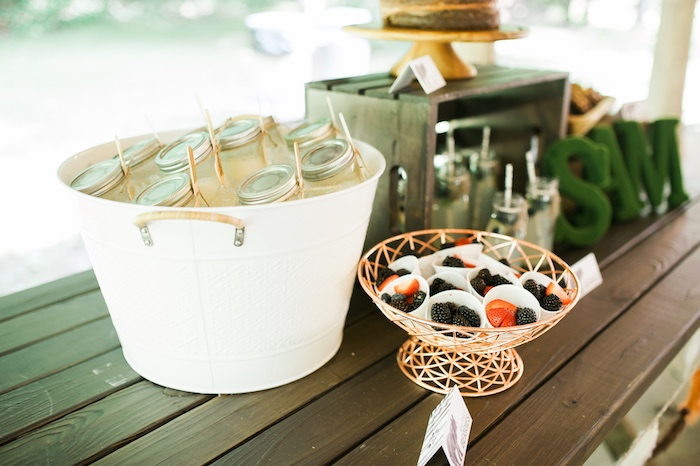 Party table details from a Grizzly Bear Man Cub 1st Birthday Party on Kara's Party Ideas   KarasPartyIdeas.com (38)