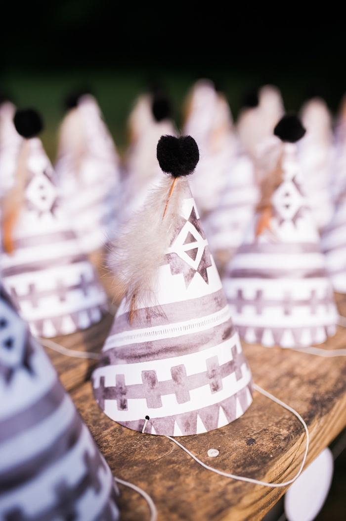 Tribal party hats from a Grizzly Bear Man Cub 1st Birthday Party on Kara's Party Ideas | KarasPartyIdeas.com (36)