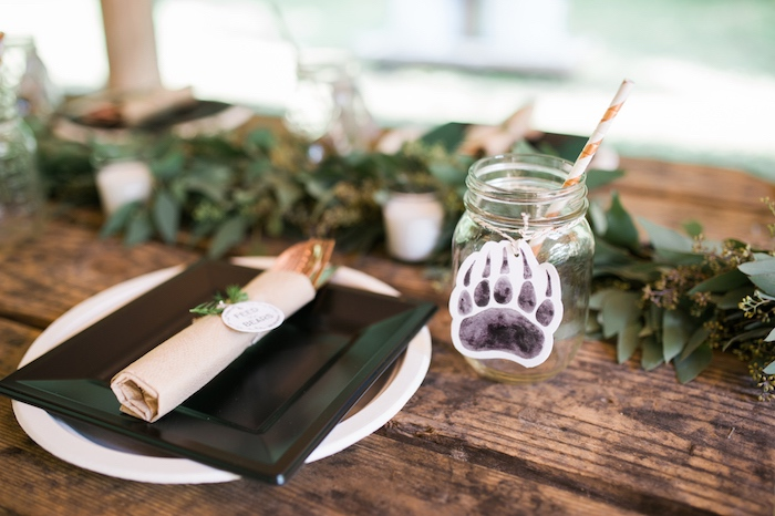 Place setting from a Grizzly Bear Man Cub 1st Birthday Party on Kara's Party Ideas | KarasPartyIdeas.com (33)