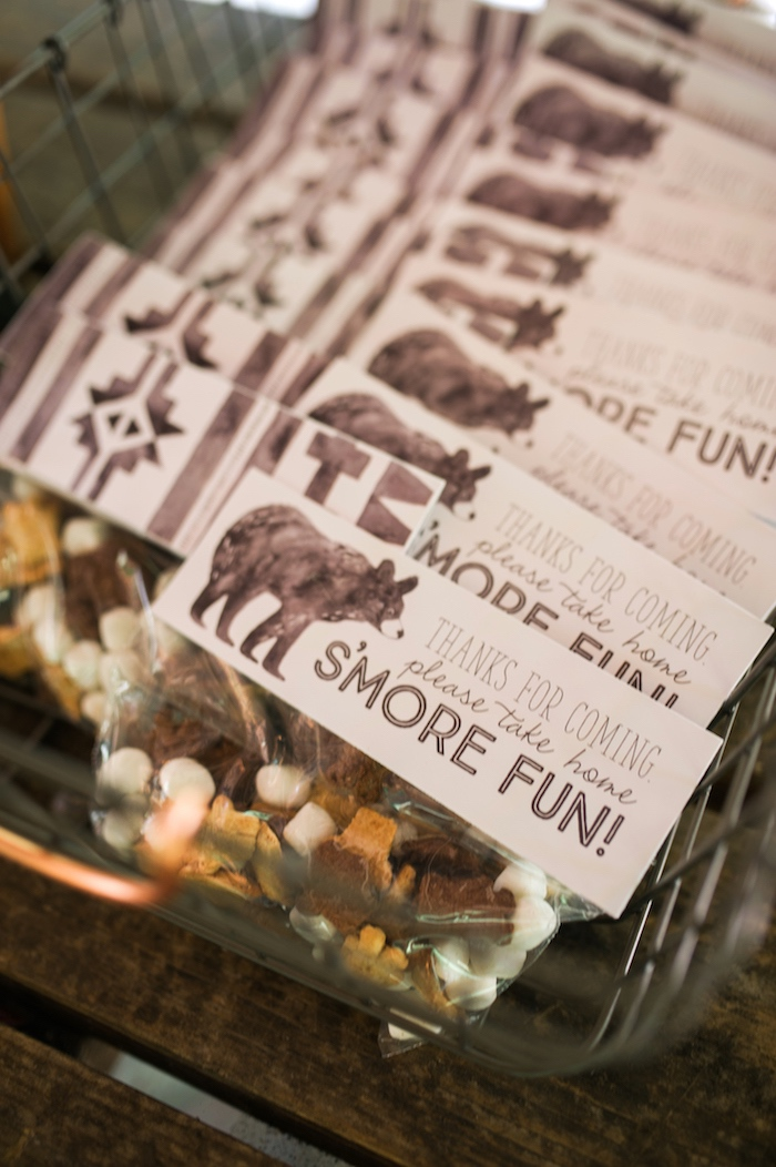 S'more snack favors from a Grizzly Bear Man Cub 1st Birthday Party on Kara's Party Ideas | KarasPartyIdeas.com (28)