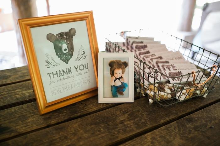 Favor table from a Grizzly Bear Man Cub 1st Birthday Party on Kara's Party Ideas | KarasPartyIdeas.com (27)