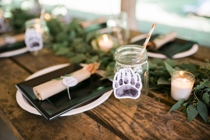Bear claw mason jar cup from a Grizzly Bear Man Cub 1st Birthday Party on Kara's Party Ideas | KarasPartyIdeas.com (24)