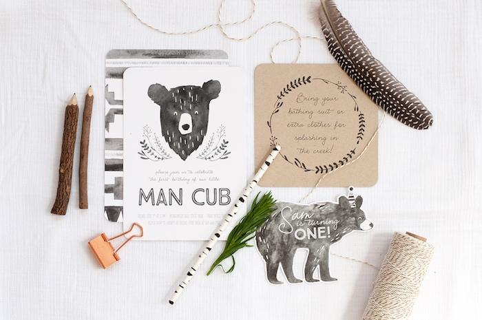 Invitation from a Grizzly Bear Man Cub 1st Birthday Party on Kara's Party Ideas | KarasPartyIdeas.com (50)