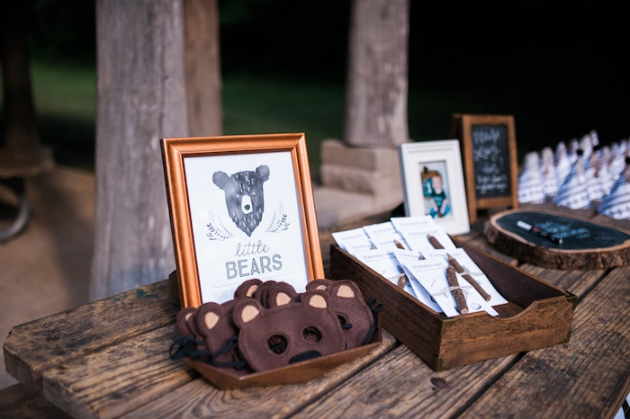 Little bear masks from a Grizzly Bear Man Cub 1st Birthday Party on Kara's Party Ideas | KarasPartyIdeas.com (19)
