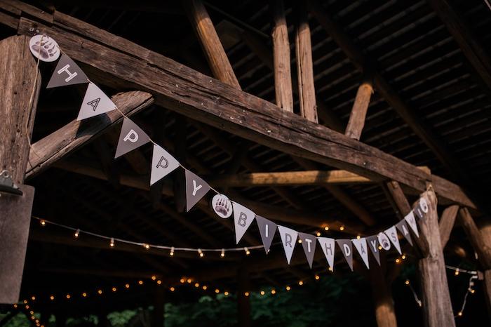 Pennant banner + overhead bunting from a Grizzly Bear Man Cub 1st Birthday Party on Kara's Party Ideas | KarasPartyIdeas.com (17)
