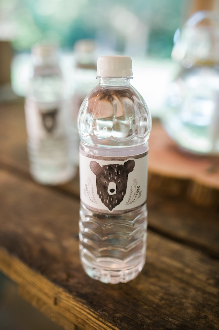 Grizzly Bear water bottle from a Grizzly Bear Man Cub 1st Birthday Party on Kara's Party Ideas | KarasPartyIdeas.com (15)