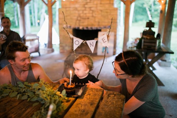 Birthday boy from a Grizzly Bear Man Cub 1st Birthday Party on Kara's Party Ideas | KarasPartyIdeas.com (8)