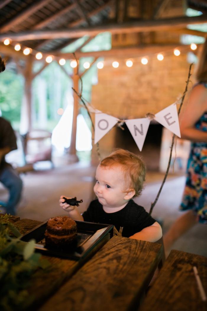 Birthday boy from a Grizzly Bear Man Cub 1st Birthday Party on Kara's Party Ideas | KarasPartyIdeas.com (7)