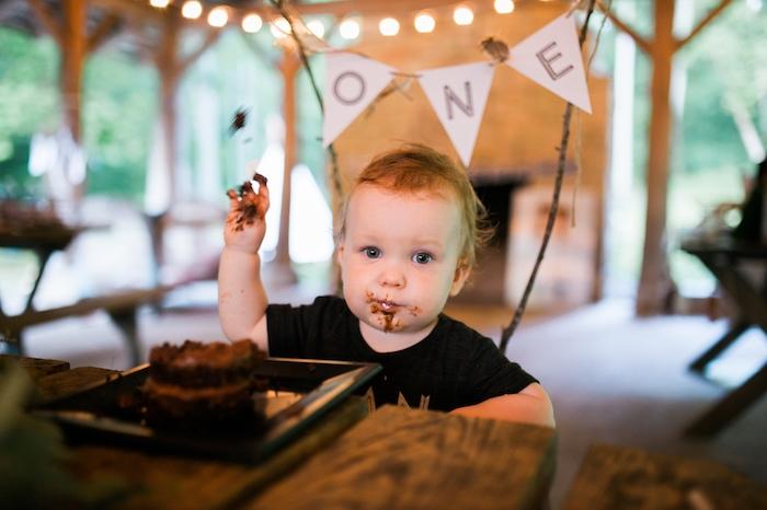 Birthday boy from a Grizzly Bear Man Cub 1st Birthday Party on Kara's Party Ideas | KarasPartyIdeas.com (6)