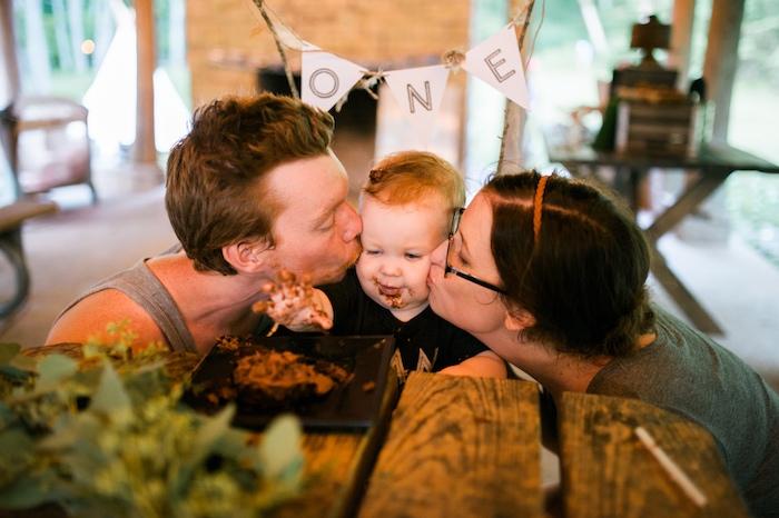 Birthday boy kisses from a Grizzly Bear Man Cub 1st Birthday Party on Kara's Party Ideas | KarasPartyIdeas.com (5)