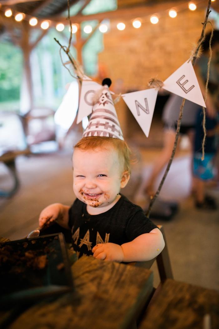 Birthday boy from a Grizzly Bear Man Cub 1st Birthday Party on Kara's Party Ideas | KarasPartyIdeas.com (4)